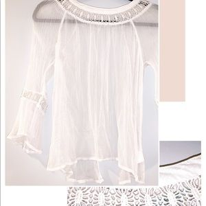 white lace and sheer shirt with a touch a floral